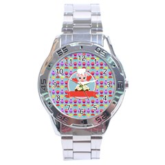 Cupcake With Cute Pig Chef Stainless Steel Watch by creativemom