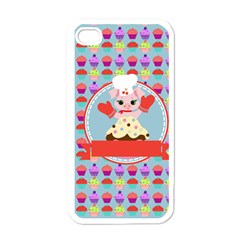Cupcake With Cute Pig Chef Apple Iphone 4 Case (white) by creativemom