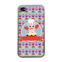 Cupcake With Cute Pig Chef Apple Iphone 4 Case (clear) by creativemom