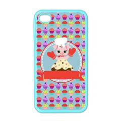 Cupcake With Cute Pig Chef Apple Iphone 4 Case (color) by creativemom