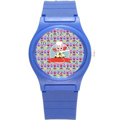 Cupcake With Cute Pig Chef Plastic Sport Watch (small) by creativemom