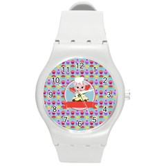 Cupcake With Cute Pig Chef Plastic Sport Watch (medium) by creativemom