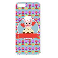 Cupcake With Cute Pig Chef Apple Iphone 5 Seamless Case (white) by creativemom