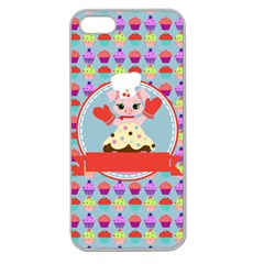 Cupcake With Cute Pig Chef Apple Seamless Iphone 5 Case (clear) by creativemom