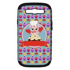 Cupcake With Cute Pig Chef Samsung Galaxy S Iii Hardshell Case (pc+silicone) by creativemom