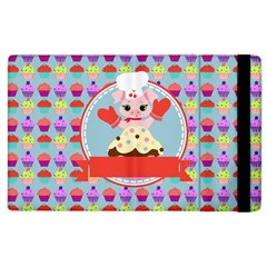 Cupcake With Cute Pig Chef Apple Ipad 2 Flip Case by creativemom