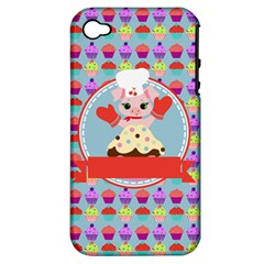 Cupcake With Cute Pig Chef Apple Iphone 4/4s Hardshell Case (pc+silicone) by creativemom