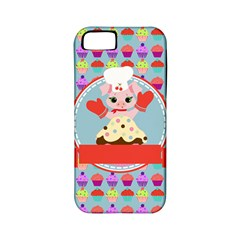 Cupcake With Cute Pig Chef Apple Iphone 5 Classic Hardshell Case (pc+silicone) by creativemom