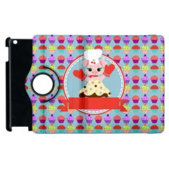 Cupcake With Cute Pig Chef Apple Ipad 2 Flip 360 Case by creativemom