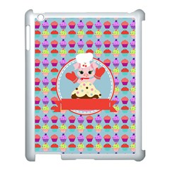 Cupcake With Cute Pig Chef Apple Ipad 3/4 Case (white) by creativemom