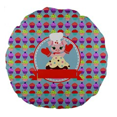 Cupcake With Cute Pig Chef 18  Premium Round Cushion  by creativemom
