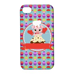 Cupcake With Cute Pig Chef Apple Iphone 4/4s Hardshell Case With Stand by creativemom