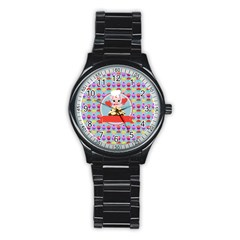 Cupcake With Cute Pig Chef Sport Metal Watch (black) by creativemom
