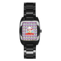 Cupcake With Cute Pig Chef Stainless Steel Barrel Watch by creativemom