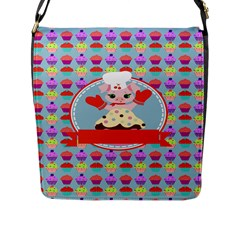 Cupcake with Cute Pig Chef Flap Closure Messenger Bag (Large) by creativemom