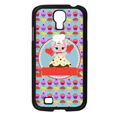 Cupcake With Cute Pig Chef Samsung Galaxy S4 I9500/ I9505 Case (black) by creativemom