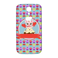 Cupcake With Cute Pig Chef Samsung Galaxy S4 I9500/i9505  Hardshell Back Case by creativemom