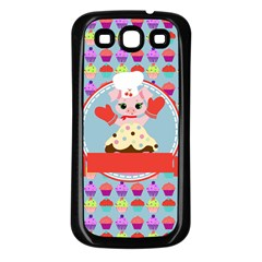 Cupcake With Cute Pig Chef Samsung Galaxy S3 Back Case (black) by creativemom