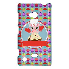 Cupcake With Cute Pig Chef Nokia Lumia 720 Hardshell Case by creativemom
