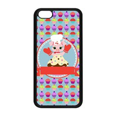Cupcake With Cute Pig Chef Apple Iphone 5c Seamless Case (black) by creativemom