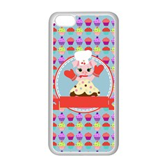 Cupcake With Cute Pig Chef Apple Iphone 5c Seamless Case (white) by creativemom