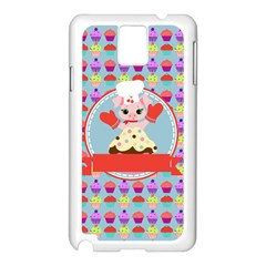 Cupcake With Cute Pig Chef Samsung Galaxy Note 3 N9005 Case (white) by creativemom