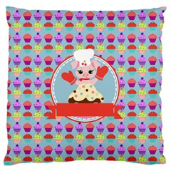 Cupcake With Cute Pig Chef Standard Flano Cushion Case (two Sides) by creativemom