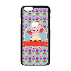 Cupcake With Cute Pig Chef Apple Iphone 6 Black Enamel Case by creativemom