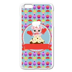 Cupcake With Cute Pig Chef Apple Iphone 6 Plus Enamel White Case