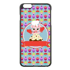 Cupcake With Cute Pig Chef Apple Iphone 6 Plus Black Enamel Case by creativemom