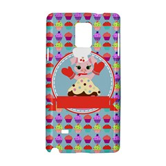 Cupcake With Cute Pig Chef Samsung Galaxy Note 4 Hardshell Case by creativemom