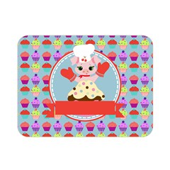 Cupcake With Cute Pig Chef Double Sided Flano Blanket (mini) by creativemom