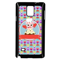 Cupcake With Cute Pig Chef Samsung Galaxy Note 4 Case (black) by creativemom