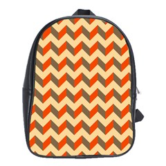 Modern Retro Chevron Patchwork Pattern  School Bag (xl) by creativemom