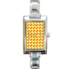 Modern Retro Chevron Patchwork Pattern  Rectangular Italian Charm Watch by creativemom