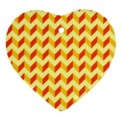 Modern Retro Chevron Patchwork Pattern  Heart Ornament by creativemom