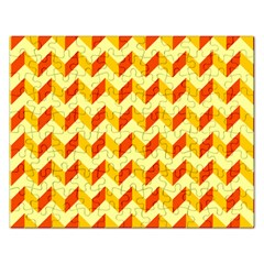 Modern Retro Chevron Patchwork Pattern  Jigsaw Puzzle (rectangle) by creativemom