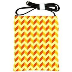 Modern Retro Chevron Patchwork Pattern  Shoulder Sling Bag by creativemom
