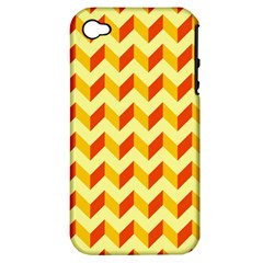 Modern Retro Chevron Patchwork Pattern  Apple Iphone 4/4s Hardshell Case (pc+silicone) by creativemom