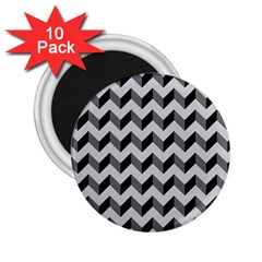 Modern Retro Chevron Patchwork Pattern  2 25  Button Magnet (10 Pack) by creativemom