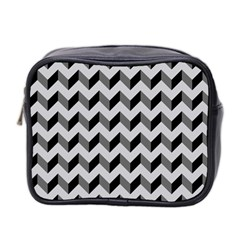 Modern Retro Chevron Patchwork Pattern  Mini Travel Toiletry Bag (two Sides) by creativemom