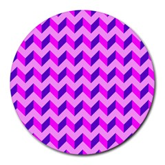 Modern Retro Chevron Patchwork Pattern 8  Mouse Pad (round) by creativemom