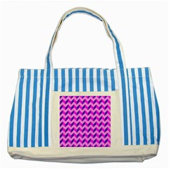 Modern Retro Chevron Patchwork Pattern Blue Striped Tote Bag by creativemom