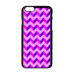 Modern Retro Chevron Patchwork Pattern Apple Iphone 6 Black Enamel Case by creativemom