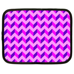 Modern Retro Chevron Patchwork Pattern Netbook Sleeve (large) by creativemom