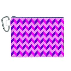 Modern Retro Chevron Patchwork Pattern Canvas Cosmetic Bag (xl) by creativemom