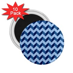Tiffany Blue Modern Retro Chevron Patchwork Pattern 2 25  Button Magnet (10 Pack) by creativemom