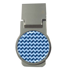 Tiffany Blue Modern Retro Chevron Patchwork Pattern Money Clip (round) by creativemom