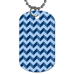 Tiffany Blue Modern Retro Chevron Patchwork Pattern Dog Tag (two Sided)