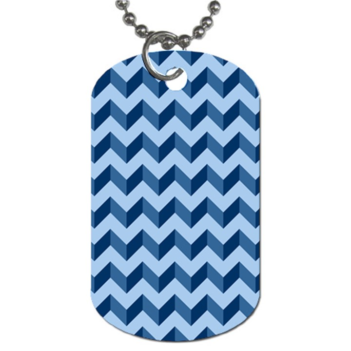 Tiffany Blue Modern Retro Chevron Patchwork Pattern Dog Tag (Two-sided)